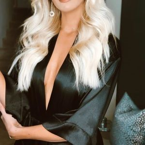 Black silky robe